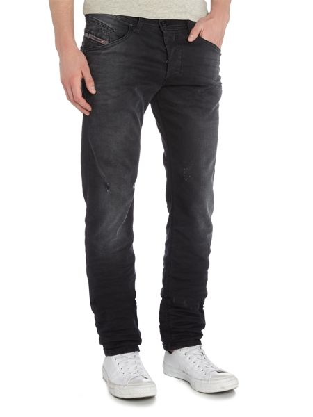 Diesel Belther 854A tapered fit distressed grey jeans