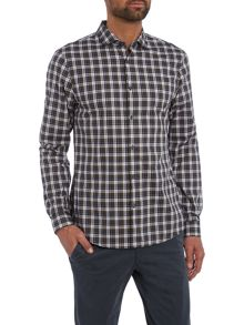 Michael Kors Slim fit mini collar plaid check shirt