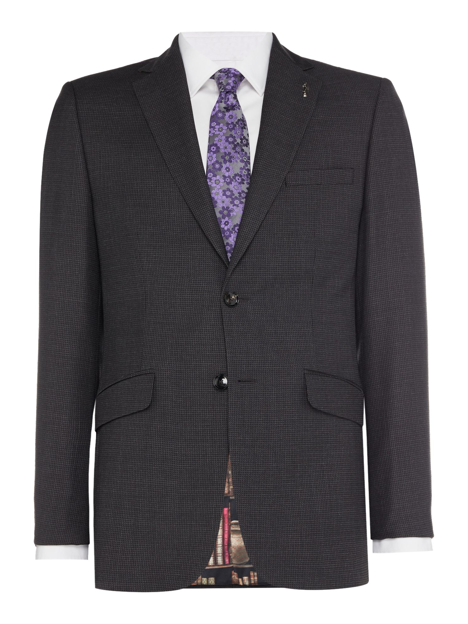 Mens Ted Baker Bob Texture Suit Jacket Charcoal