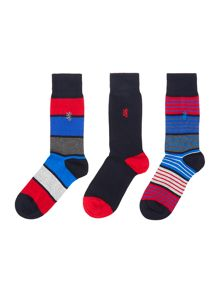 Pringle 3 Pack Large Block Stripe And Plain Socks