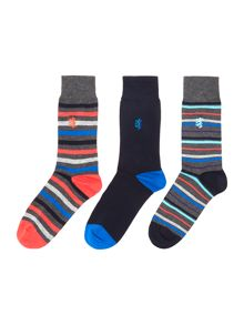 Pringle 3 Pack Bold Stripe And Plain Socks