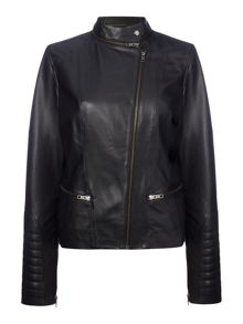 Maison De Nimes Leather Zip Collar Jacket