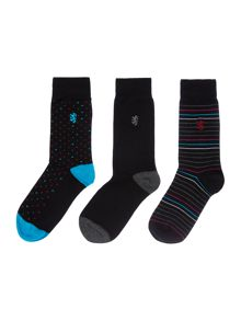 Pringle 3 Pack Pin Dot and Plain Socks In A Cube