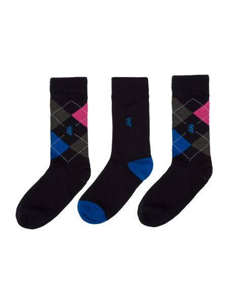 Pringle 3 Pack Argyle And Plain Socks In A Box