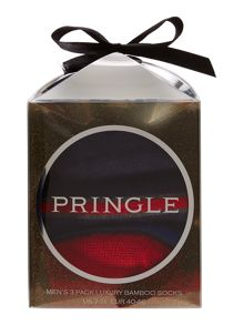 Pringle 3 Pack Vari Stripe And Plain Socks In A Cube