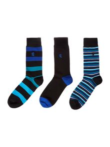 Pringle 3 Pack Fine Stripe And Block Socks