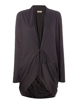 Double tie twist back charcoal cardigan