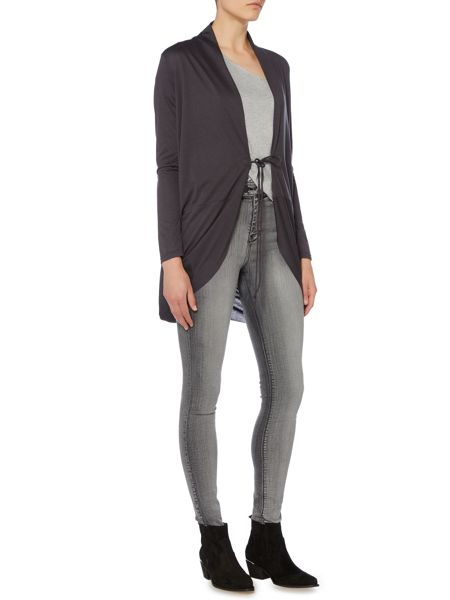 Label Lab Double tie twist back charcoal cardigan