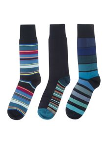 Paul Smith London 3 Pack Striped Socks