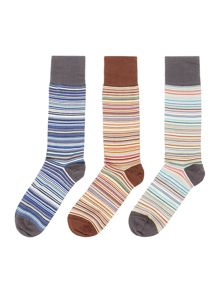 Paul Smith London 3 Pack Multi Stripe Socks