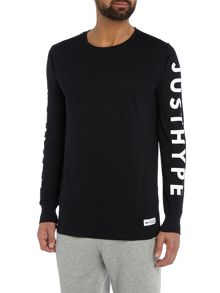Hype Long Sleeve Logo Print Crew Neck T Shirt
