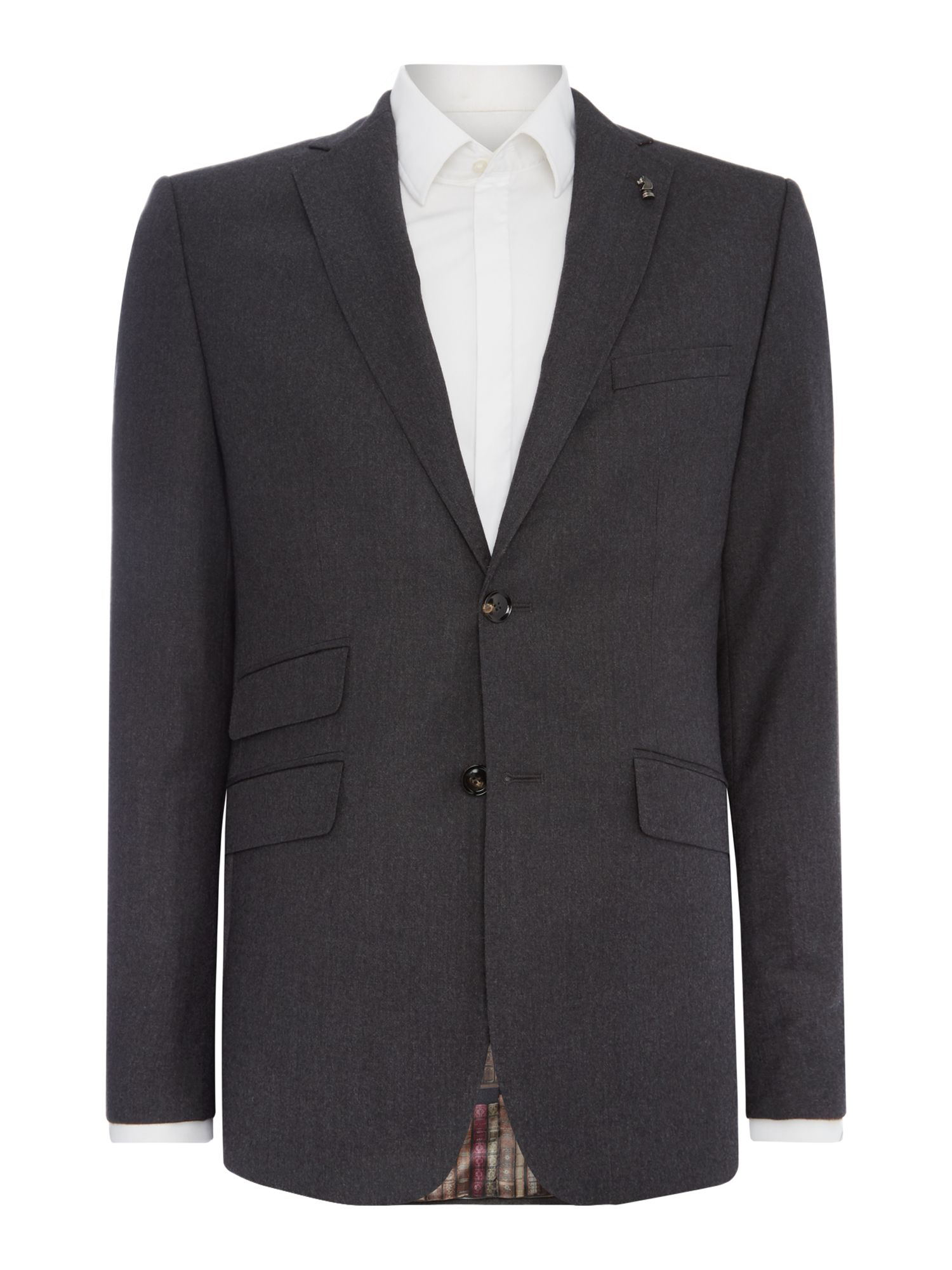 Mens Ted Baker Puddit Flannel Suit Jacket Charcoal