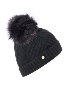 Ted Baker Lisabet faux fur pom pom knitted hat