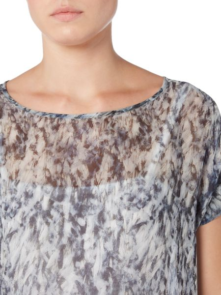 Gray & Willow Elv print gathered hem top