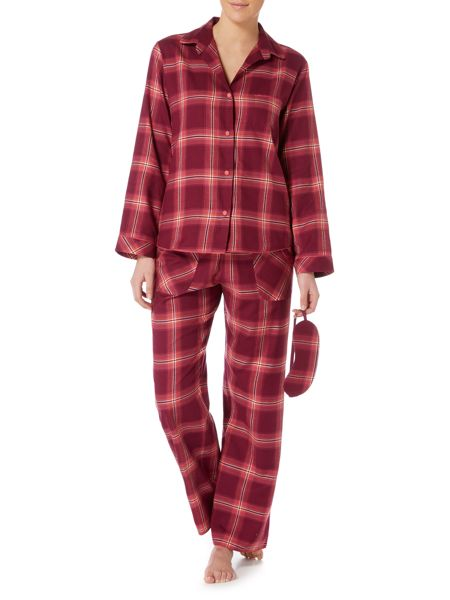 Cyberjammies Berry check pyjama and eye mask boxed set