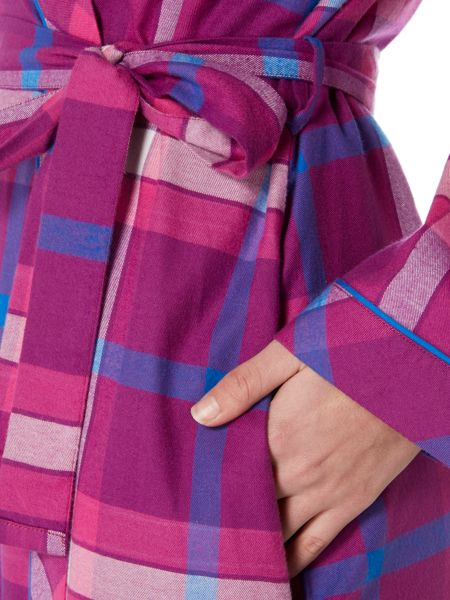Cyberjammies Magenta check long robe