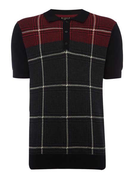 Merc Short Sleeve Knitted Check Polo
