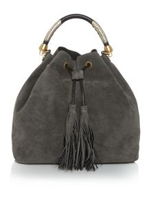 Coccinelle Leonie Suede grey bucket bag