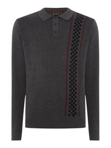 Merc Long Sleeve Vertical Stripe Knitted Polo