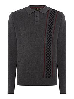 Long Sleeve Vertical Stripe Knitted Polo