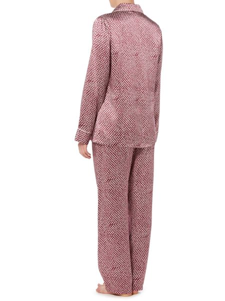 Ginia Silk long sleeve printed pyjama set with eyemask