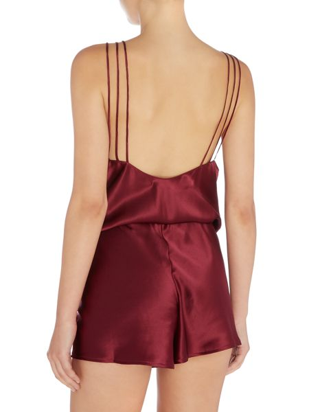 Ginia Silk dipped back playsuit with delicate straps