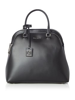 Dafne calf black large double zip dome bag