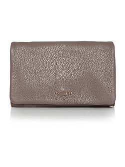 Sibilla taupe flapover clutch bag