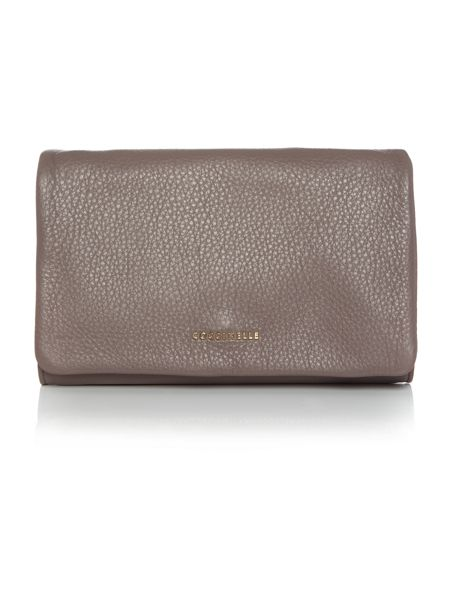 Coccinelle Sibilla taupe flapover clutch bag