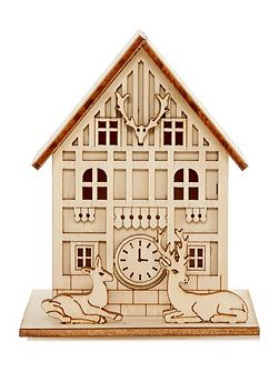 Small light up wooden house