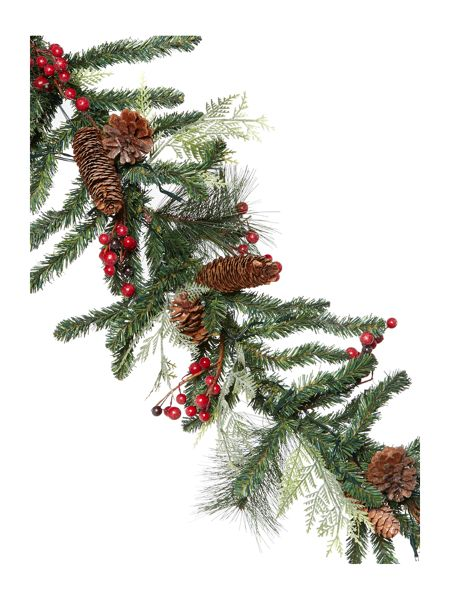 Linea Pre lit garland with red berries and pine cones