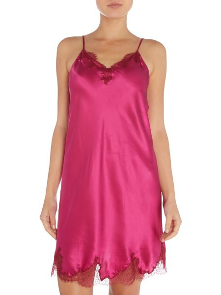 Ginia Silk chemise with lace detail
