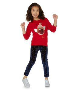 Little Dickins & Jones Girls Embellished Robin Christmas Jumper