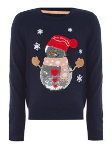 Little Dickins & Jones Girls Sparkly Snowman Christmas Jumper