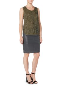 Gray & Willow Woodgrain embellished grown on sleeve blouse