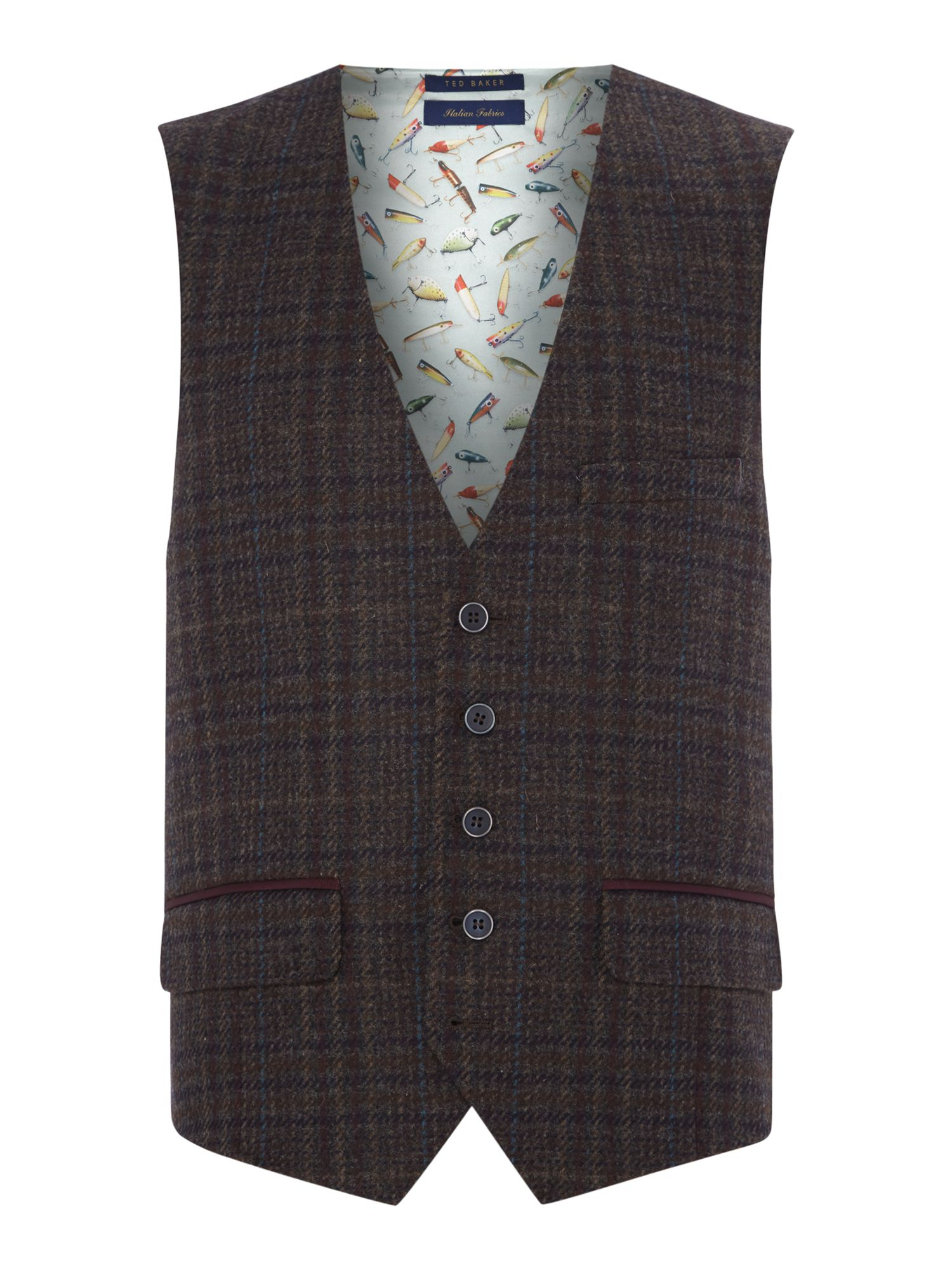 Mens Ted Baker Spiral Check Waistcoat Brown