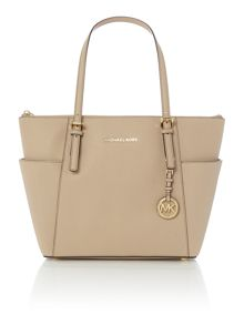 Michael Kors Jetset Item tan zip top tote bag