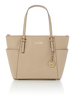 Jetset Item tan zip top tote bag