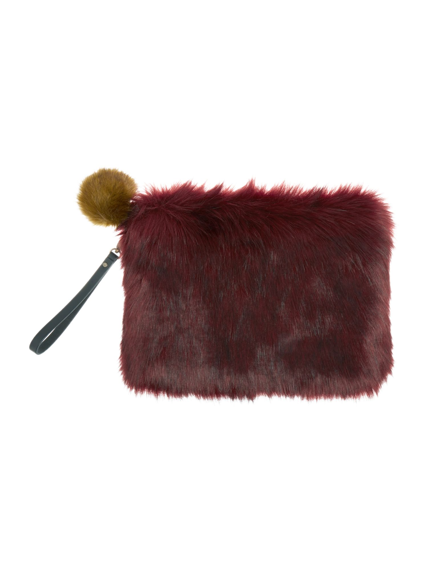 Helen Moore Helen Moore Faux fur large clutch bag, Burgundy