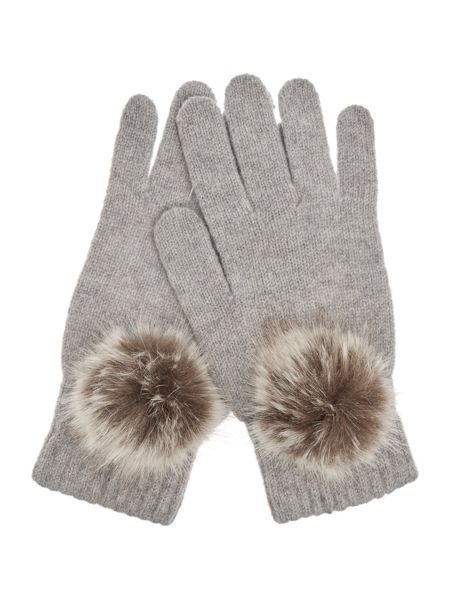 Helen Moore Knitted Lambswool gloves with faux fur pom pom
