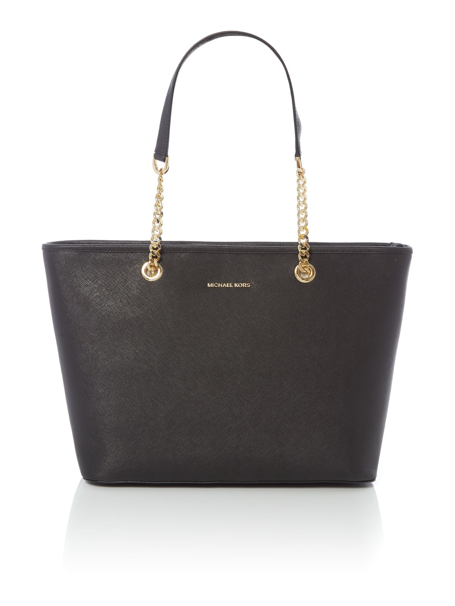 Michael Kors Jetset chain black top zip tote Black