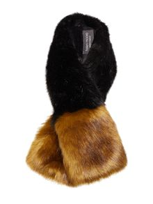 Helen Moore Dipped tippet Faux Fur Scarf