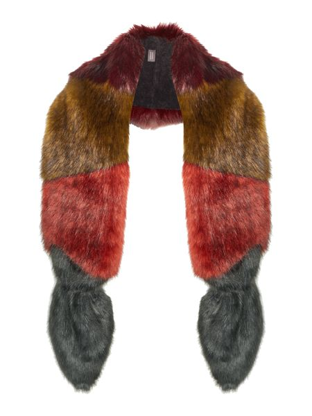 Helen Moore Multi coloured vixen long faux fur scarf