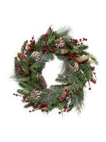 Linea 24 Light up red berry and pinecone wreath
