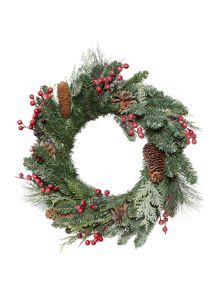 Linea 18 red berry foliage and pinecone wreath