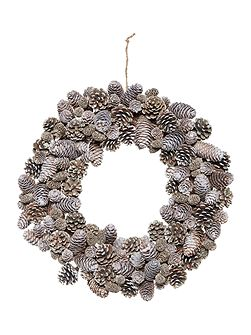 Acorn & pinecone pewter wreath