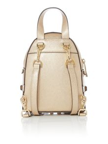 Michael Kors Rhea zip gold mini backpack