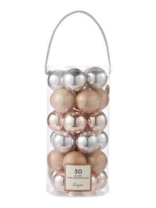 Linea Set of 30 glass bauble pack in silver and blush