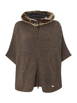 Islay cape with faux fur trim hood