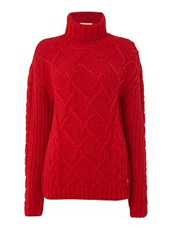 Moraine chunky knit polo neck jumper